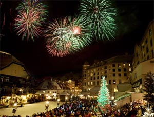 Beaver Creek holds fireworks above the outdoor skating rink at the slopeside village.