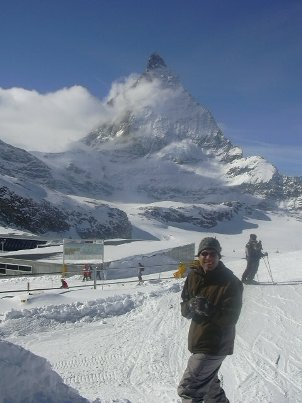 Escaping the Olympic circus for a day, the author skis at the base of the Matterhorn in Zermatt, Switzerland.