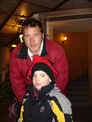 Medal-less but still cool to the kids, Bode Miller poses for a photo with the author�s oldest son, Nick, right after the slalom in Sestrierre. Miller skied out in the first run.