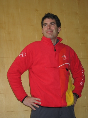 I am Zoolander � the author models his official Torino Organizing Committee (TOROC) uniform.