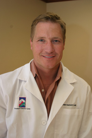 When working at the Steadman Hawkins clinic Dr. Hackett, above, may appear no different than any other highly-successful Orthopedic surgeon. Yet Dr. Hackett's extra-curricular activities, which include rock climbing, surfing, and mountain biking, are somewhat outside the norm.  He is now also the head physician for the U.S. Snowboard team.