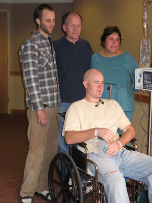Jason Gately, in wheelchair, was surrounded by his relieved family Tuesday, Oct. 16, at the Vail Valley Medical Center: from left, his brother, Joshua, father, Jim, and mother, Jean.