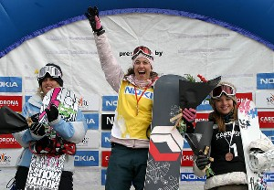 Clair Bidez of Minturn, right, was third in a World Cup halfpipe event in New Zealand Sept. 1, behind Lindsey Jacobellis, left, in second and Manuela Laura Pesko of Switzerland.