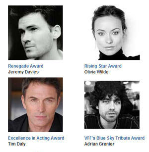 Some of this year's Vail Film Festival award recipients, including, clockwise from upper left: Jeremy Davies, Olivia Wilde, Tim Daly, Adrian Grenier.