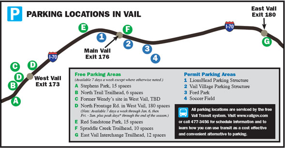 Current parking locations in Vail are visible in the map above, but expect a few more spaces added to this map in time for the 2008-09 ski season.