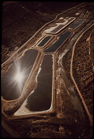 Uranium mining holding ponds near Uravan in Montrose County in 1972.