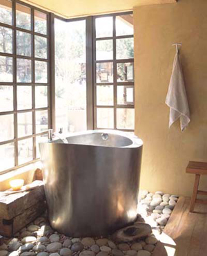 A Japanese soaking tub inside 2339 Chamonix, similar to this one, is a tateful example of the home's forward-looking design - which is matched by its efficiency.
