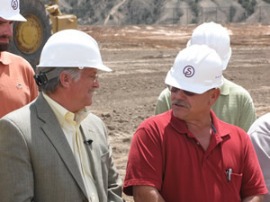 Eagle County Commissioner Peter Runyon, left, and Gypsum Mayor Steve Carver talk about the new 339-unit Stratton Flats public-private affordable housing partnership in Gypsum.