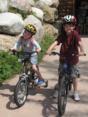 Nick, right, and Max Williams try out their new mountain bikes last summer. Nick is headed to his second Vail Mountain Bike Camps session this summer with former pro rider Mia Stockdale.