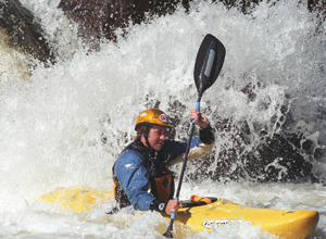 Vail's Ludden during the 2007 Homestake Steep Creekin' race. Ludden fares well in the Teva Games every year, and has paddled in remote locations around the world.