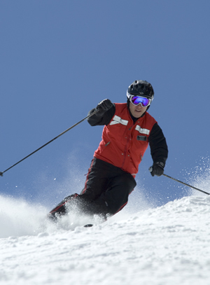 Vail Resorts CEO Rob Katz carves some turns on Vail Mountain, where he hopes to also make his mark as a green ski exec.