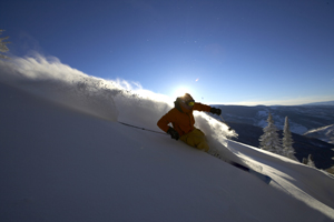 Vail skier Bruce Ruff inks the canvas at Vail Jan. 2. Snow like this comes thanks to big snowfall totals in December.