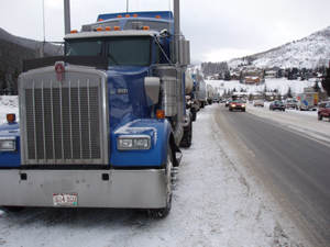 Trucks and other vehicles lined the North Frontage Road Dec. 31 as Vail continued to get pounded by heavy snows and high winds. The weather is good news for those who can enjoy the snow over the next few days, but it left over 130 stranded in Salvation Army shelters in Vail.