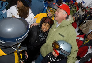 Colorado Sen. Ken Salazar was a popular man on Vail Mountain Saturday, thronged by at-risk kids from Denver and Eagle County.