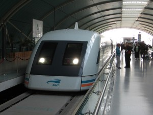 A maglev train like this one to the airport in Shanghai likely won't work along the steep, twisting turns of Interstate 70 in Colorado.