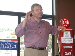 GOP U.S. Senate candidate Bob Schaffer speaking to Eagle County Republicans with an old fashioned gas pump, a constant prop on the campaign trail.