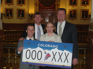 Backers of the proposed skier vanity plate are, left to right: Ari Stiller-Shulman of Colorado Ski Country USA, Sen. Dan Gibbs, CSCUSA CEO Melanie Mills and Brent Lessing, Hertz Corporation's Southwest Region General Fleet Manager.