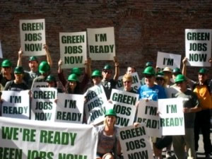 Coloradans, shown here at a green jobs rally in Denver, hope to play a key role in passing a federal clean energy bill.
