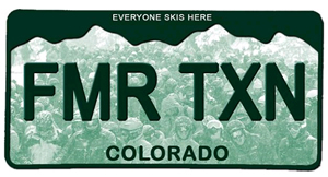 Skiing Magazine had this tongue-in-cheek suggestion for a new Colorado skier plate.