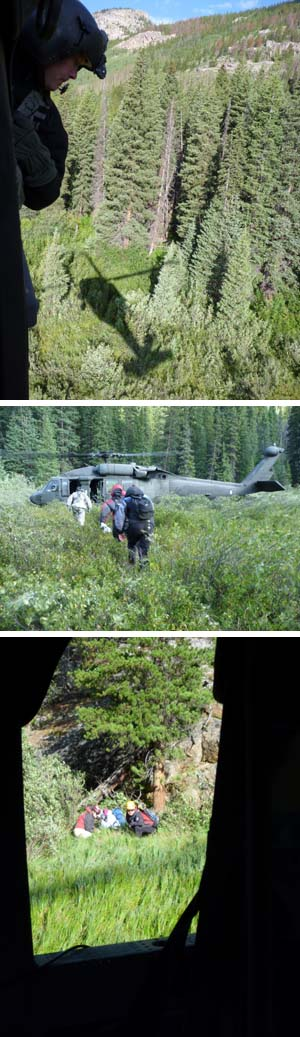 Members of the Colorado National Guard helped locate and rescue two hikers from Michigan who became lost hiking in the Holy Cross area this week.