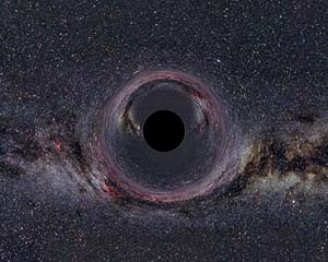 A large black hole would look this way if superimposed on the Milky Way – but don't fear the Large Hadron Collider's nano black holes, which will disappear in an instant.