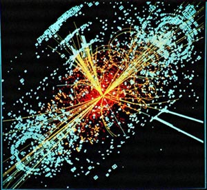 A representation of what may occur when the Large Hadron Collider makes what could be one of the most important scientific discoveries of the century: the discovery of the Higgs boson, known as the,