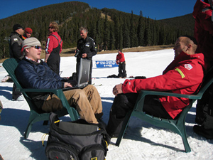 U.S. Ski Team member Jake Zamansky of Aspen, right, talks with RealVail�s Tom Boyd during a break in training at Keystone Nov. 8. In his off time, Zamanski races motorcross and managed to bag a record mule deer and record elk with his father during hunting season this year in Colorado.