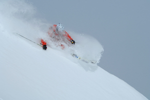 The skiing on Vail Pass can be as good as anywhere on Vail Mountain, as Tyson Bolduc displays above.