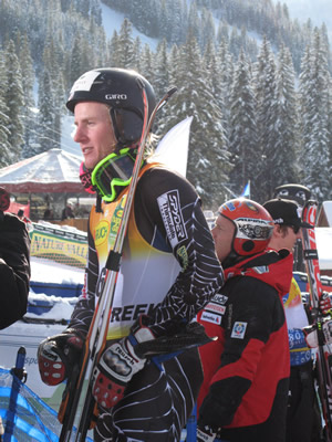 Olympic gold medalist Ted Ligety, of Park City, Utah, waits to see if his time will hold up for a podium spot in the Birds of Prey giant slalom Sunday. Ligety wound up tied for fourth in a race won by Switzerland's Daniel Albrecht.