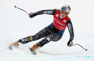 Vail's Lindsey Vonn flies down the Ruthie's downhill course at Aspen Saturday en route to a fourth-place finish.