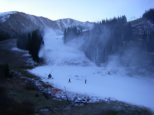 Crews at Arapahoe Basin have been blowing snow in earnest since Sunday, Oct. 5. Chances are A-Basin will open this week, but Loveland, which has been making snow for a couple of weeks, is giving them a run for their money in the race to open first.