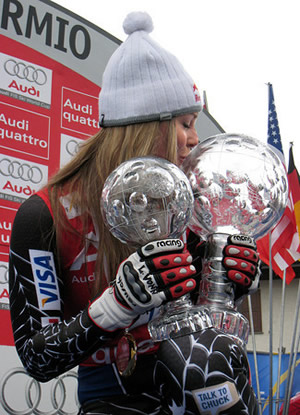 Lindsey Vonn of Vail shows off the two crystal globes she won at the World Cup Finals in Bormio, Italy, in March.