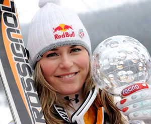 Lindsey Vonn, a Ski and Snowboard Club Vail product, shows off the super-G globe she nabbed Thursday at the World Cup Finals in Are, Sweden.
