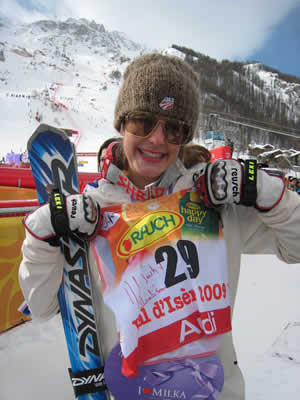 Resi Stiegler of Jackson, Wyo., shows off the bib she had autographed by French President Nicolas Sarkozy Saturday after turning in the top American finish in the World Championships slalom (19th). Vail's Lindsey Vonn crashed in the second run.