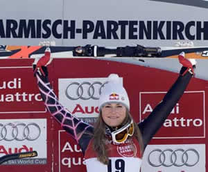 Ski Club Vail product Lindsey Vonn celebrates her 18th career World Cup win (fifth of the current season) Sunday in Garmisch. Vonn tied Tamara McKinney for the most career wins by an American woman.