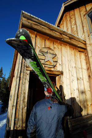 The author enters the Polar Star Inn after a long trip to the Eagle County backcountry hut.