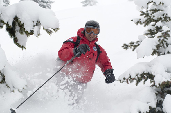 Grisha Kravtchenko of Aspen Alpine guides makes his way into the backcountry on a trip near Aspen, Colorado.