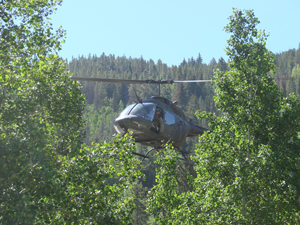 A helicopter aids during the search and rescue operation ongoing on Beaver Creek mountain Saturday, June 21.
