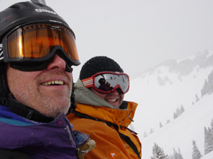 One of the great things about skiing alone: meeting new people