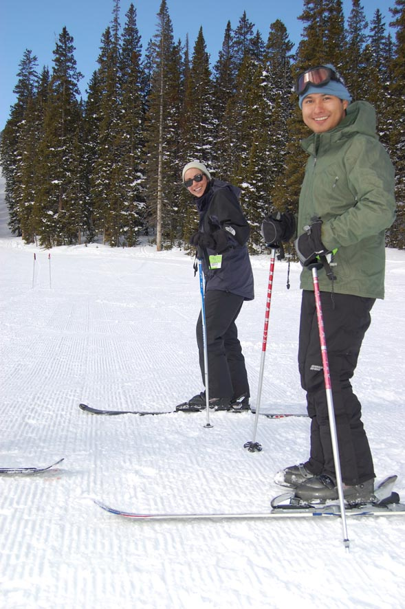 Luis Lopez (foreground) and Petrina Crockford took their Monarch Mountain ski lessons one step at a time.