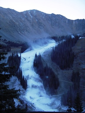 Snow guns were working overtime Tuesday morning, Sept. 25, on Arapahoe Basin's High Noon trail.