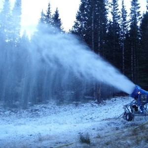 A snow gun blasts out the artificial stuff at Loveland Tuesday morning, Sept. 25, after a dusting of natural snow high on the Continental Divide.