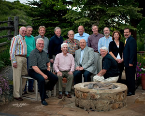 The Vail Valley Medical Center board of directors. Front row, left to right: Donald Mengedoth, Andy Daly, Ed O'Brien and Wayne Wenzel. Back row, left to right: Ron Davis, Art Kelton, Chupa Nelson, Jack Eck, Paul Johnston, Paul Testwuide, Buzz Potts, Reg Franciose, Alice Ruth and Chip Woodland.