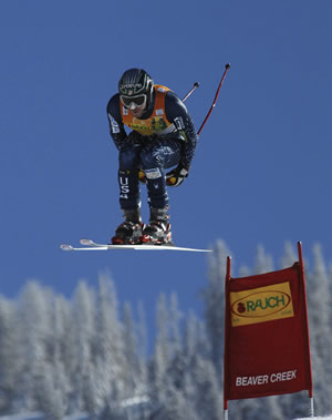 Bode Miller, shown here getting huge air at Beaver Creek, was second at a World Cup downhill in Italy Saturday, leading the record charge of five American men into the top 10.