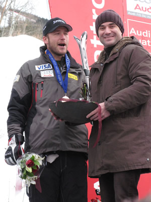 Bode Miller, a 25-time World Cup winner, and Andre Agassi, an eight-time Grand Slam winner, mug for the cameras at Beaver Creek Thursday, Nov. 29.