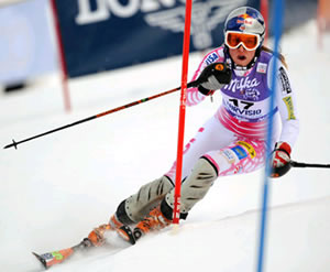 Lindsey Vonn, seen here in a file photo, was leading a World Cup slalom in Germany after the first run Saturday, but straddled a gate in the second run and will now have to wait till the World Cup Finals in Are, Sweden, next week to clinch her second straight overall title.